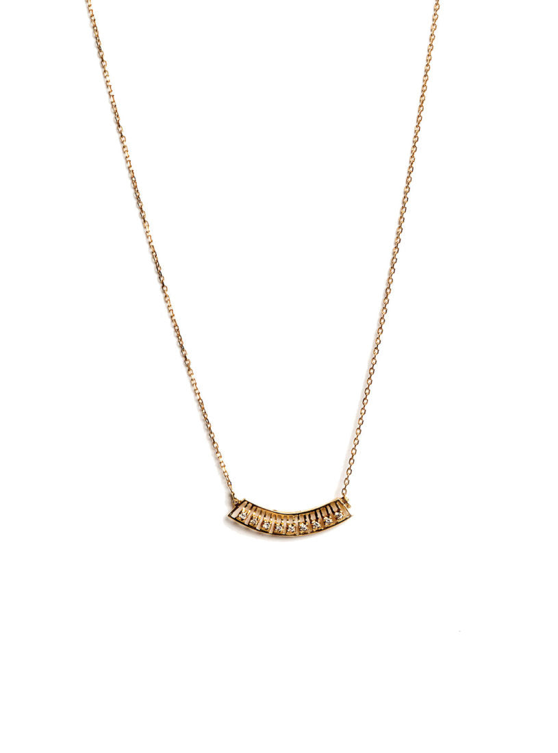 Levant Curved Necklace with Diamonds