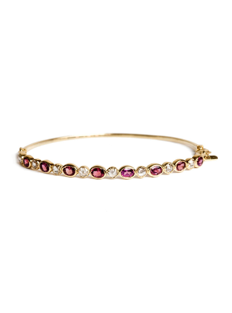 Freestyle Bracelet with Pink Oval Tourmalines and Diamonds