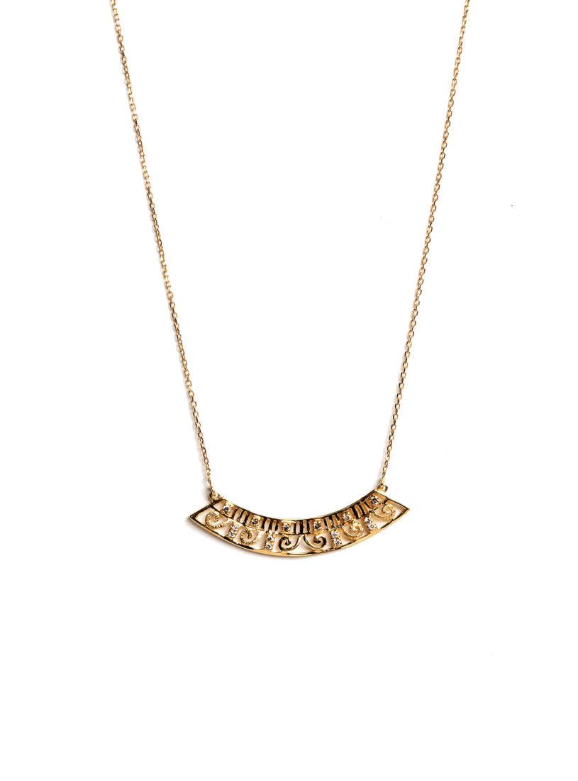 Levant Curved Wide Necklace with Diamonds