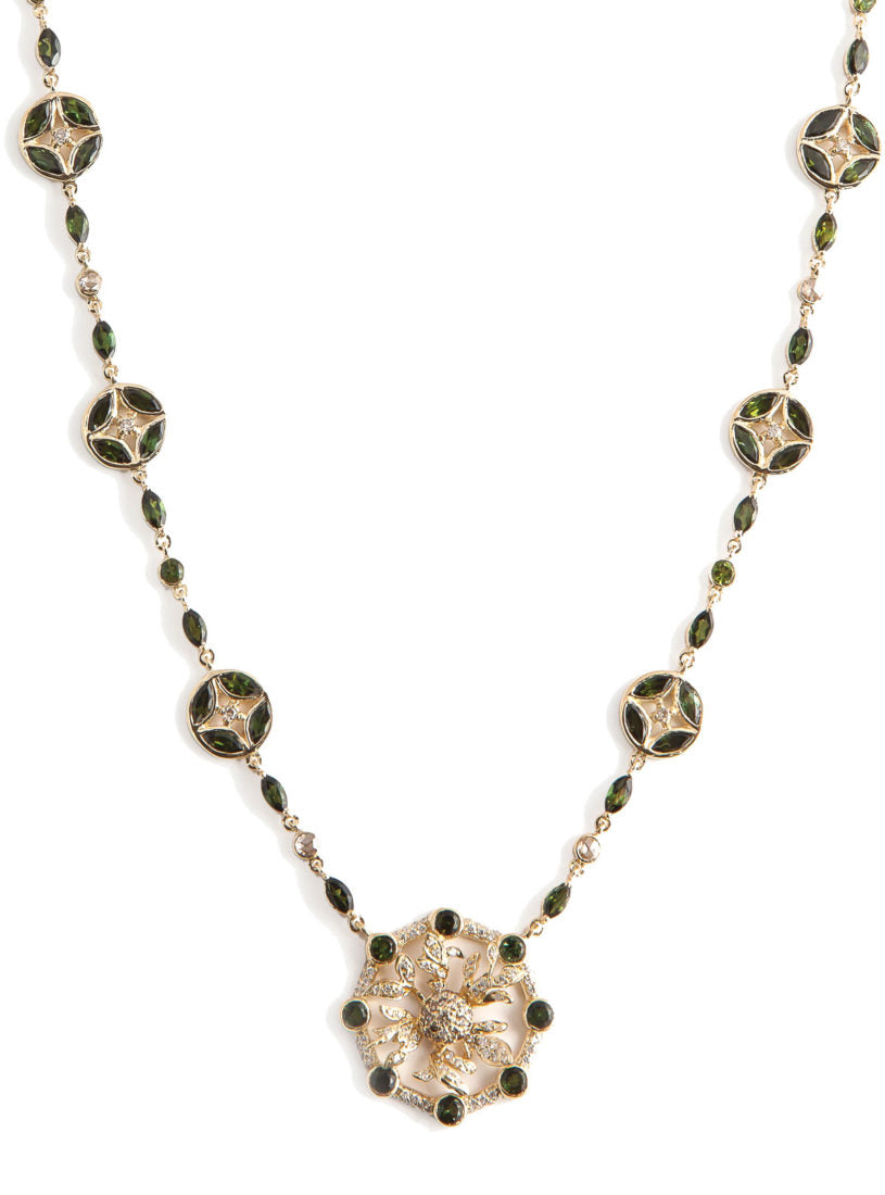 Levant Rondel Necklace with Diamonds and Green Tourmalines