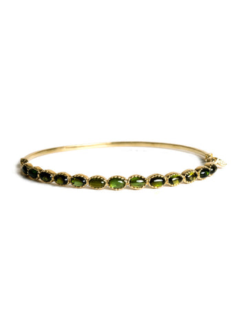 Freestyle Bracelet with Oval Green Tourmaline Cabochons