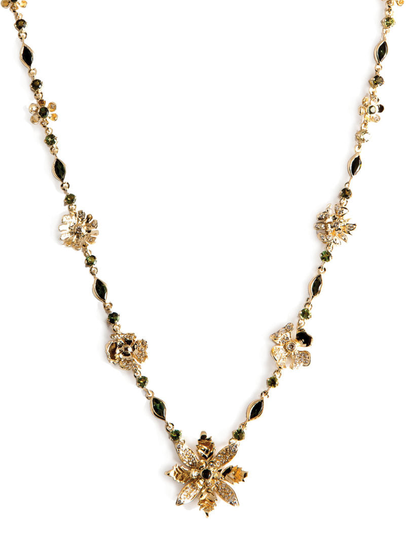 Levant Floral Necklace with Diamonds and Green Tourmalines