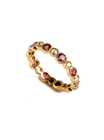 Freestyle Ring with Pink Tourmalines and Rose-cut White Diamonds
