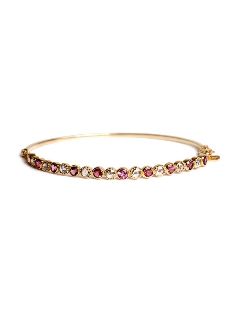 Freestyle Bracelet with Pink Tourmaline and Rose-cut Diamonds