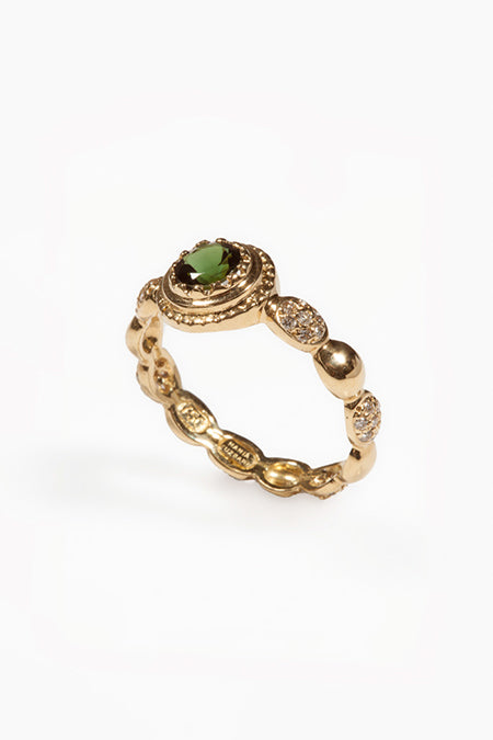 Freestyle Ring with Green Tourmaline Center Stone and White Diamond Clusters