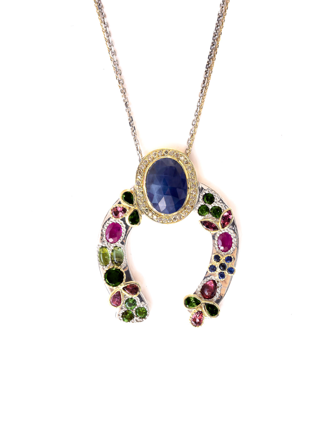 Horseshoe Necklace with Blue Sapphire and Diamond Crown