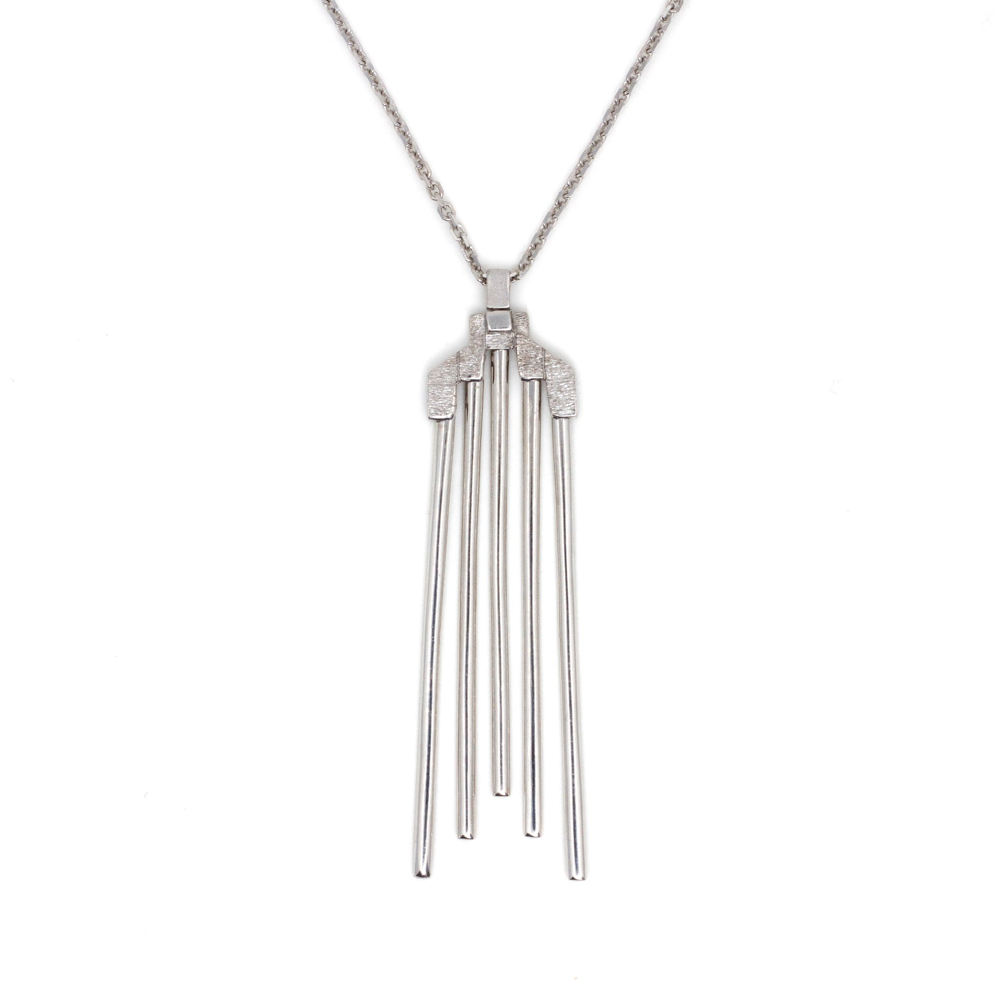 Silver Sleek Cylinders Necklace