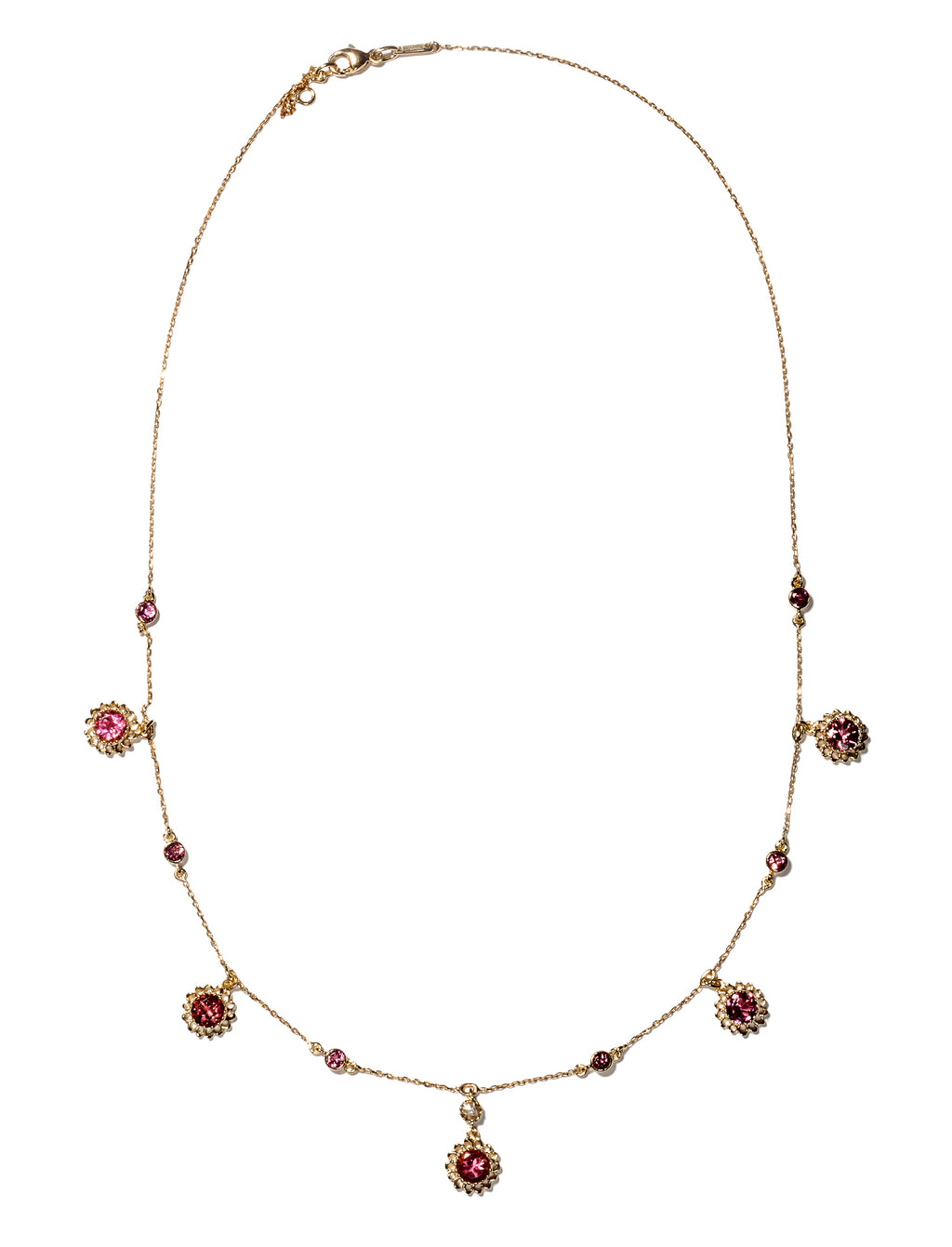 Aghabani Necklace with Pink Tourmalines, Diamonds and Floral Motif