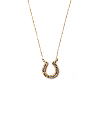Horseshoe Necklace with Blue Sapphire