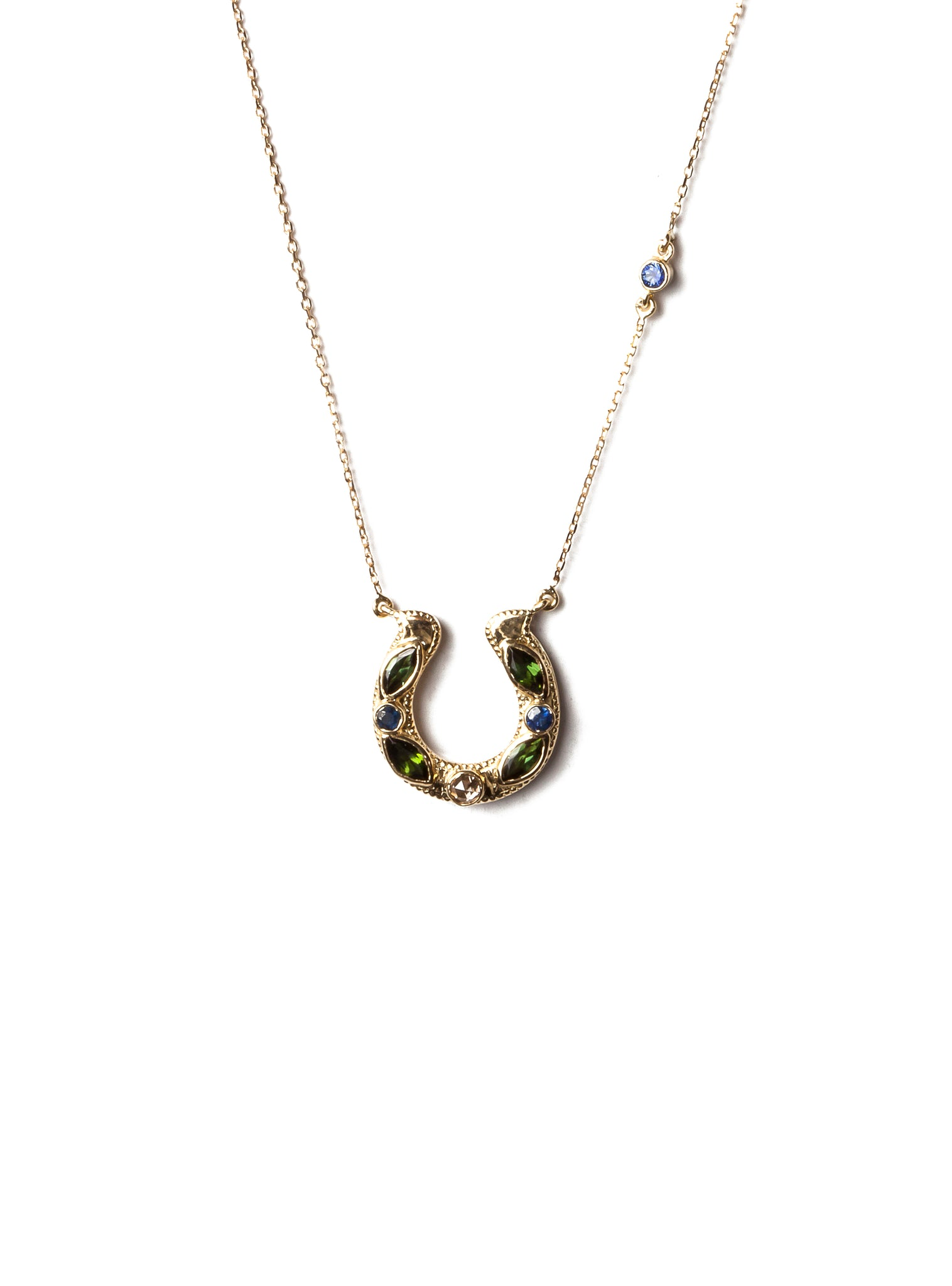 Horseshoe Necklace with Tourmaline, sapphire and Diamond