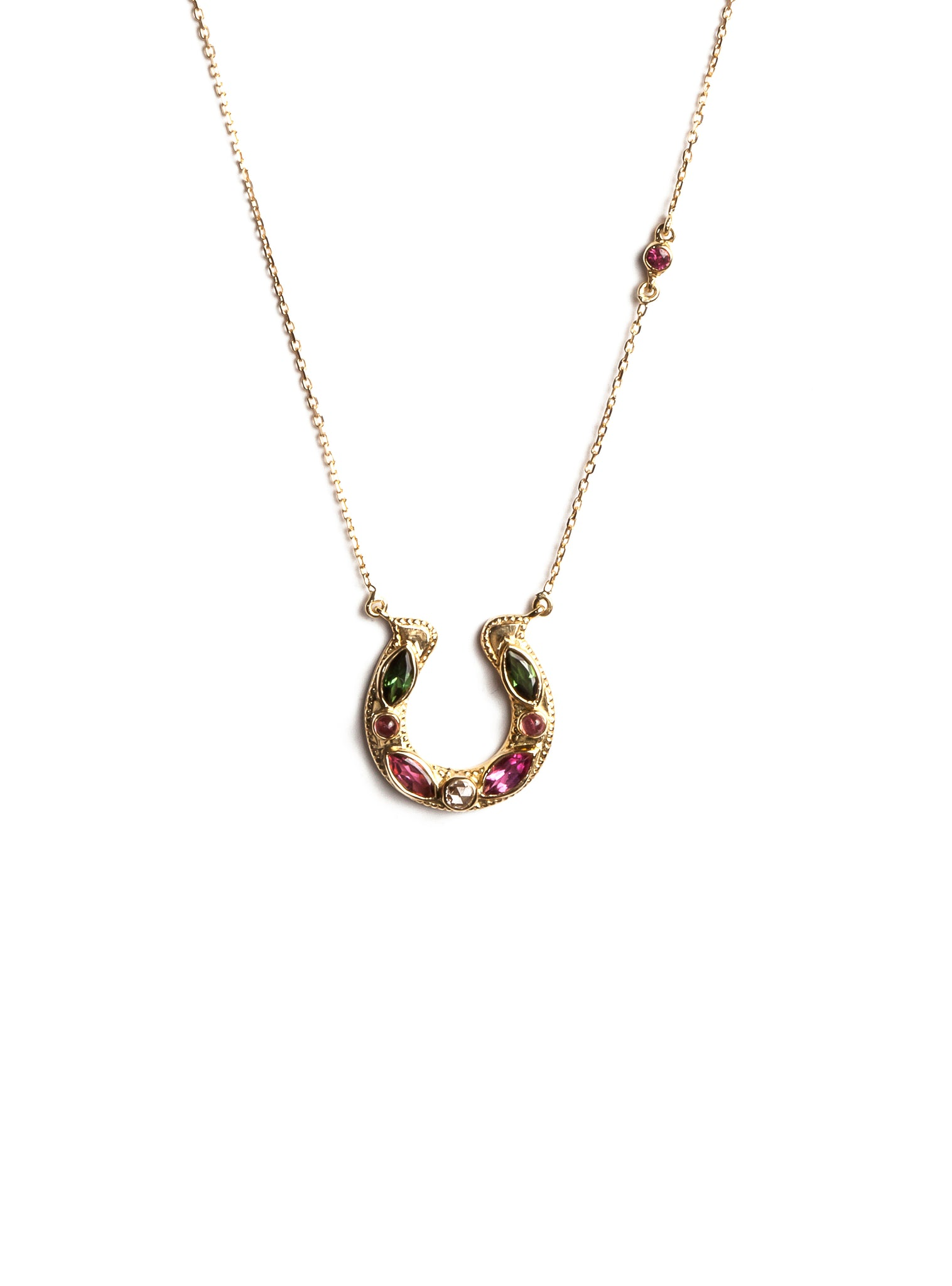 Horseshoe Necklace with Colored Marquess Tourmaline and Diamond