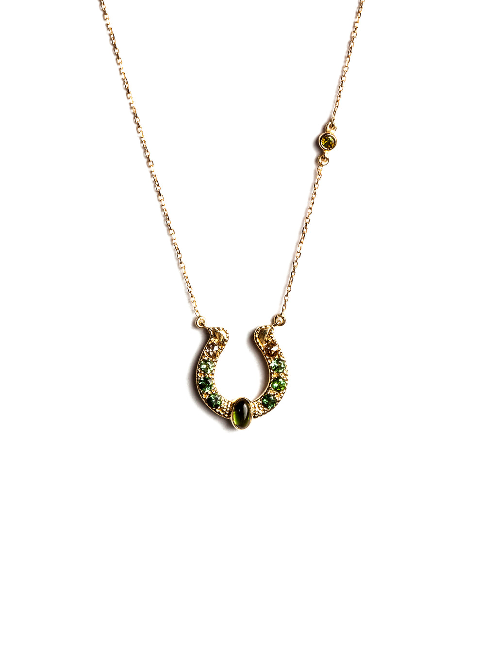 Horseshoe Necklace with Green Tourmalines, Diamonds and Cabochon Accent
