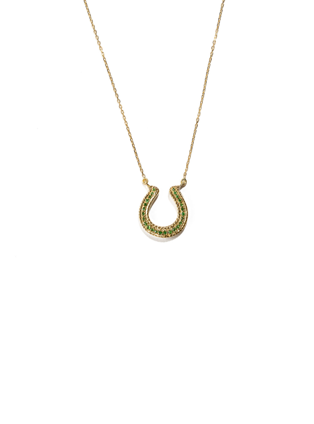 Horseshoe Necklace with Green Tsavorites