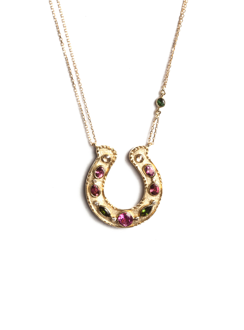 Horseshoe Necklace with Multicolored Tourmalines and Diamonds