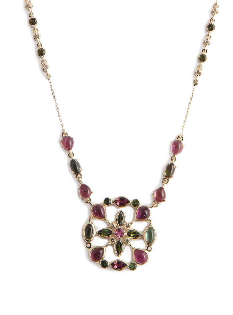 Arabesque Necklace with Multicolored Tourmaline and White Diamond Rondel