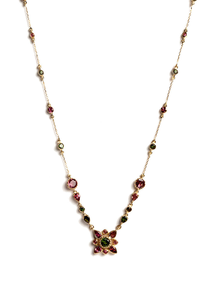 Arabesque Necklace with Multicolored Tourmalines and White Diamonds