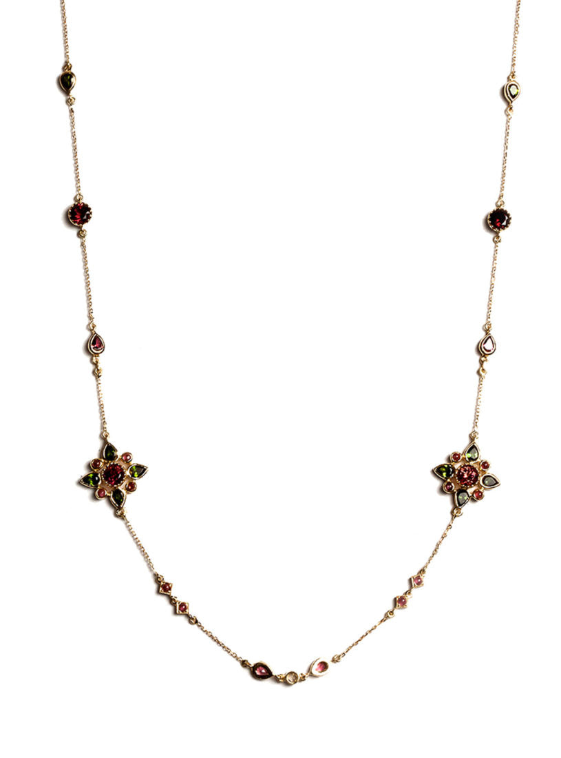 Arabesque Necklace with Multicolored Tourmalines, White Diamonds and Geometric Floral Motif