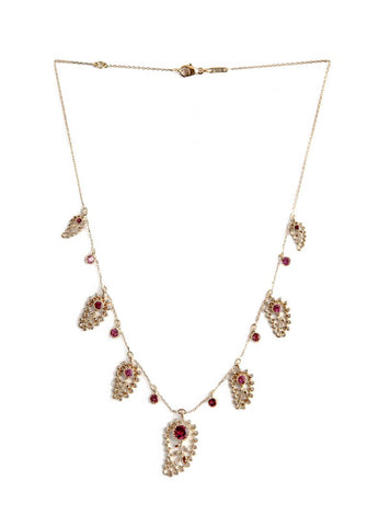 Aghabani Necklace with Pink Tourmalines, Diamonds and Paisley Motif