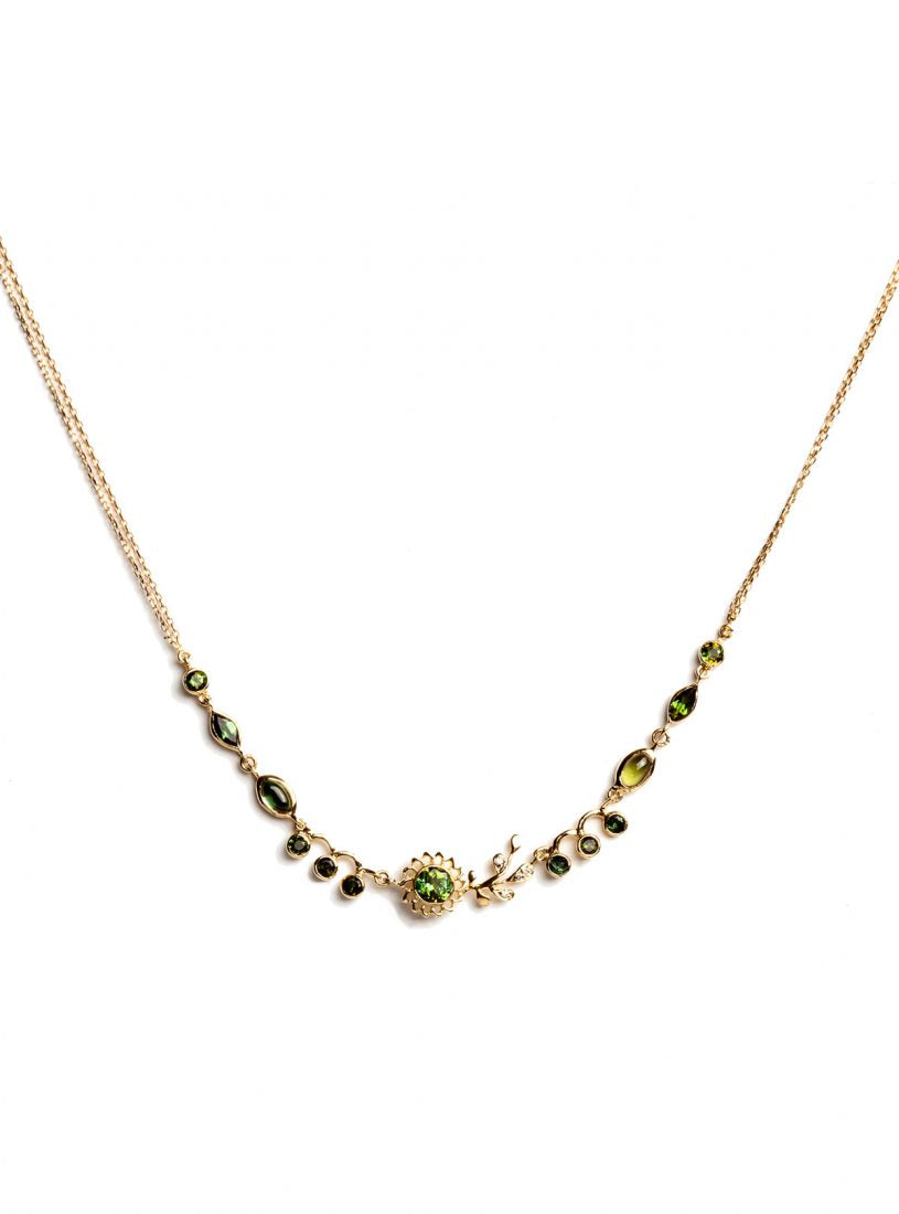 Aghabani Necklace with Multi-cut Green Tourmalines, Diamonds and Floral Motif