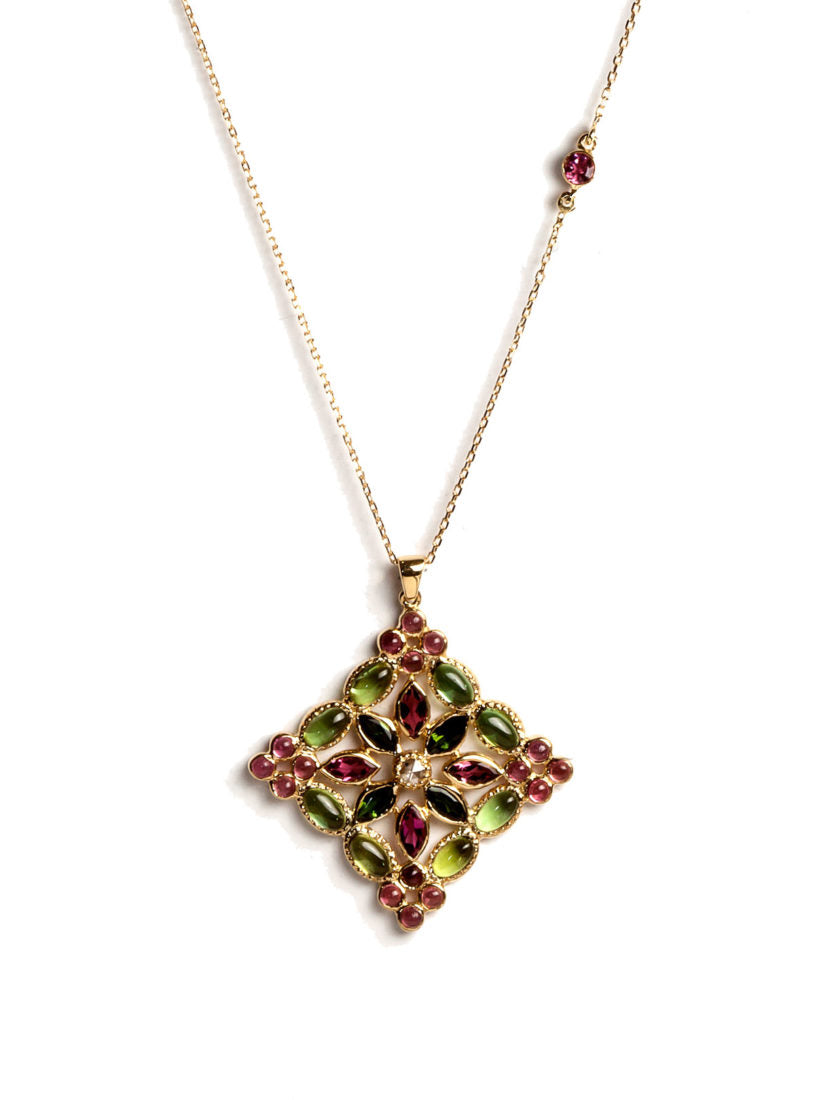 Arabesque Necklace with Multicolored Tourmalines, White Diamonds and White Tourmaline Center