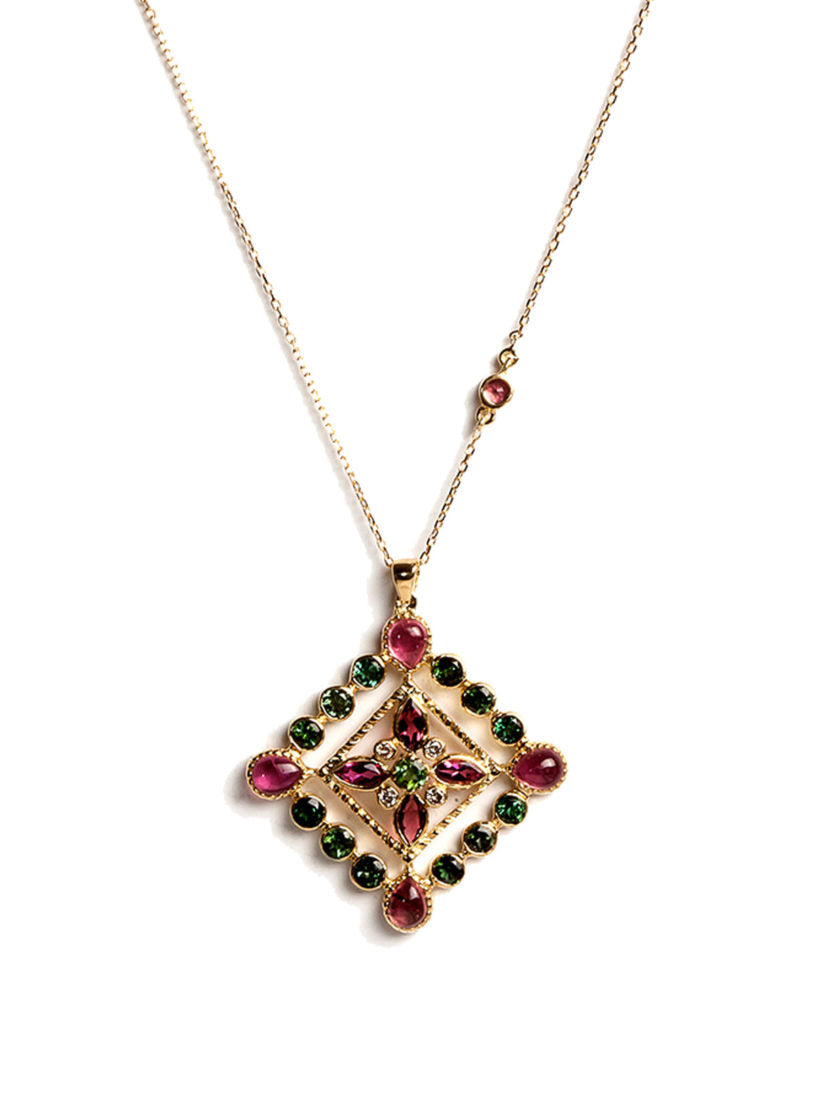 Arabesque Necklace with Multicolored Tourmalines, White Diamonds, Filigree Wire and Green Tourmaline Center