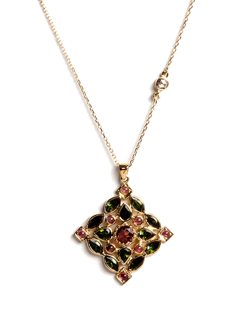 Arabesque Necklace with Multicolored Tourmalines, White Diamonds and Pink Tourmaline Center