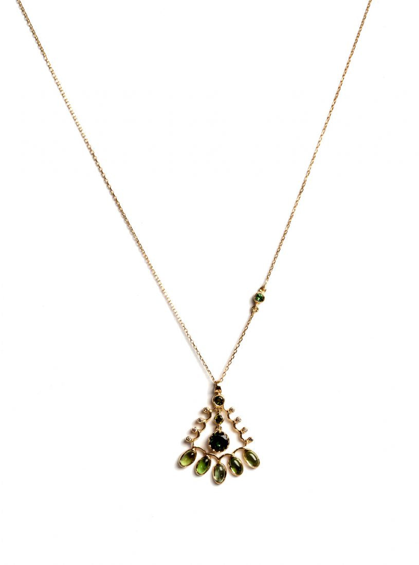 Aghabani Necklace with Cabochon Green Tourmalines and Diamonds