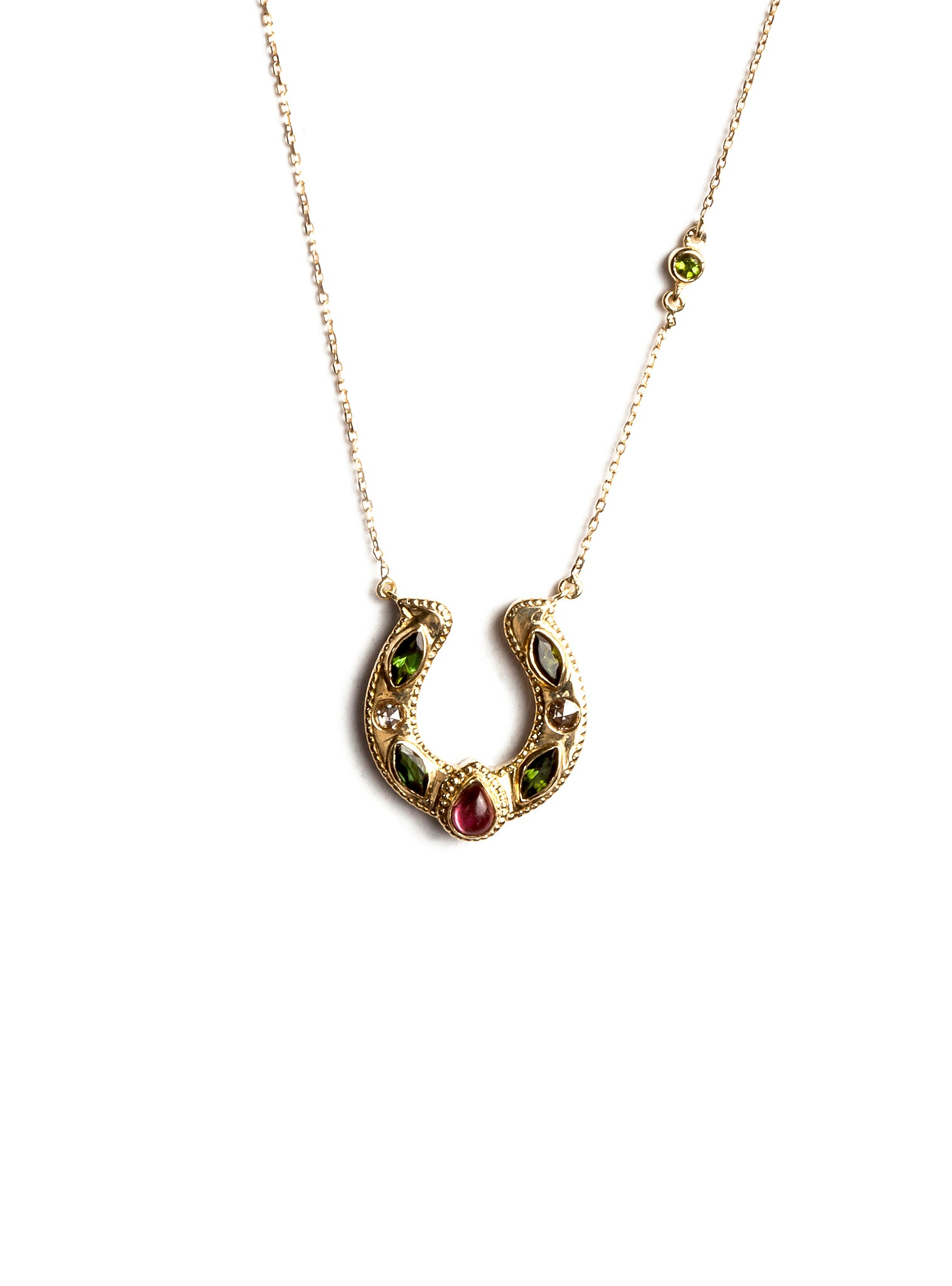 Horseshoe Necklace with Cabochon and Marquise Tourmalines and Diamonds
