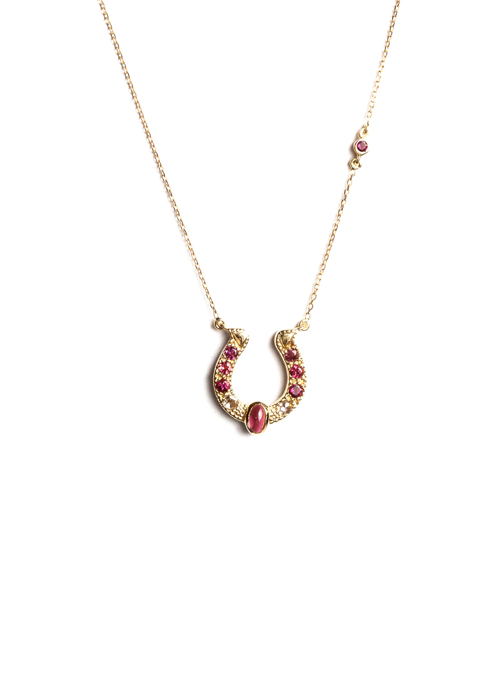 Horseshoe Necklace with Pink Tourmalines, Diamonds and Cabochon Accent