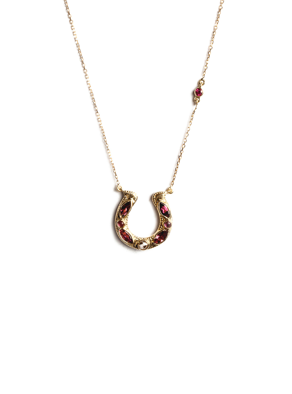 Horseshoe Necklace with Marquise Pink Tourmalines and Diamonds