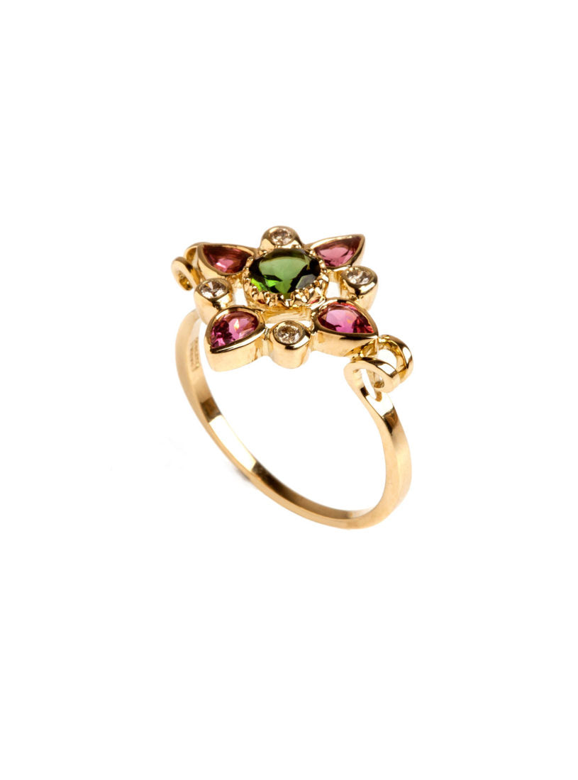 Arabesque Ring with Multicolored Tourmalines and Diamonds