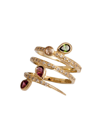 Arabesque Tapered Wrap Ring with Multicolored Tourmalines and Diamonds