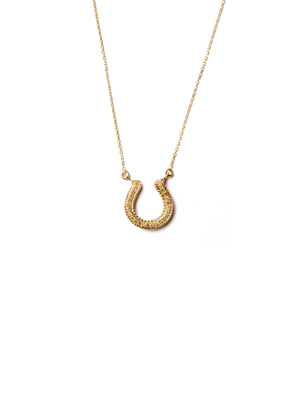 Horseshoe Necklace with Yellow Sapphires