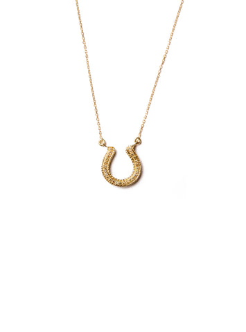 Horseshoe Necklace with Yellow Sapphire