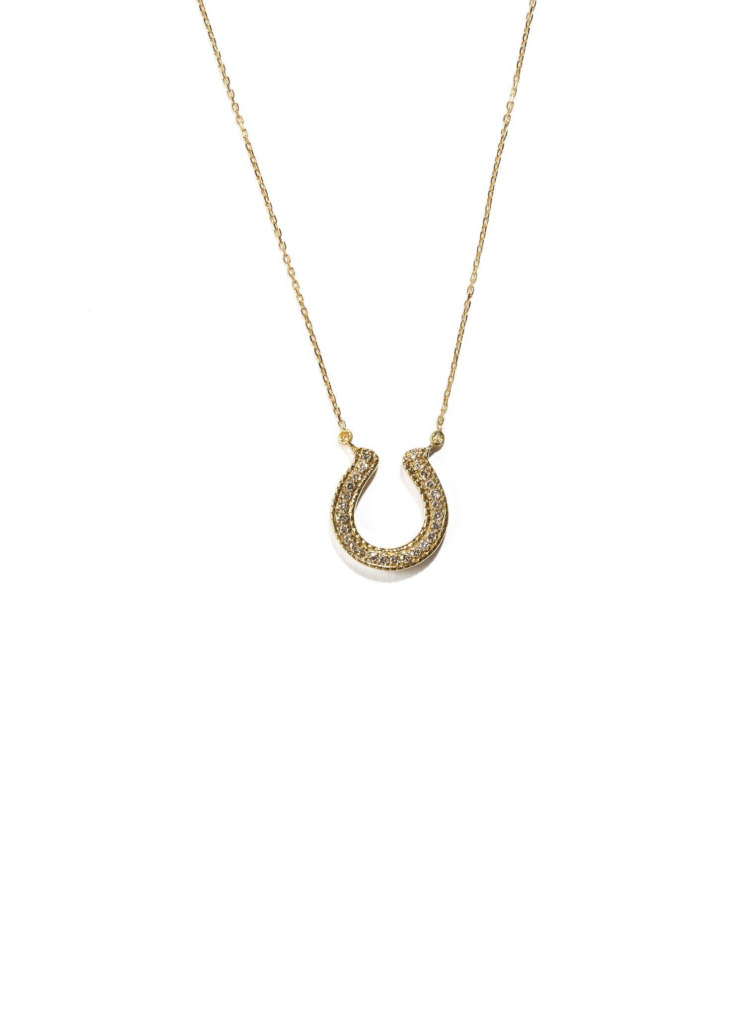 Horseshoe Necklace with Brown Diamonds