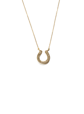 Horseshoe Necklace with Champagne Diamonds
