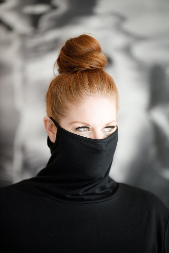 'Anya' Cowl Neck Top W/ Attached Mask