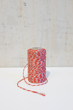 Linen bakers twine - Red/Ecru