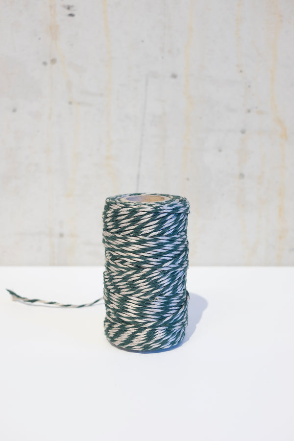 Linen bakers twine - Green/Ecru