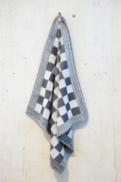 Knitted kitchen towel - Black/Ecru