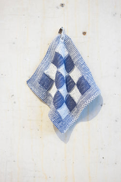Knitted potholder towel - Indigo/Ecru