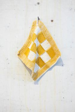 Knitted potholder towel - Ochre/Ecru