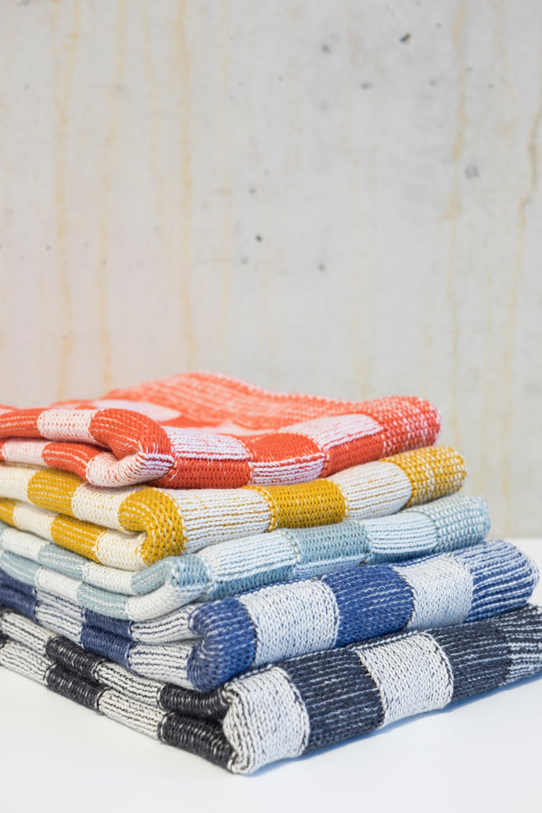 Knitted kitchen towel - Ochre/Ecru