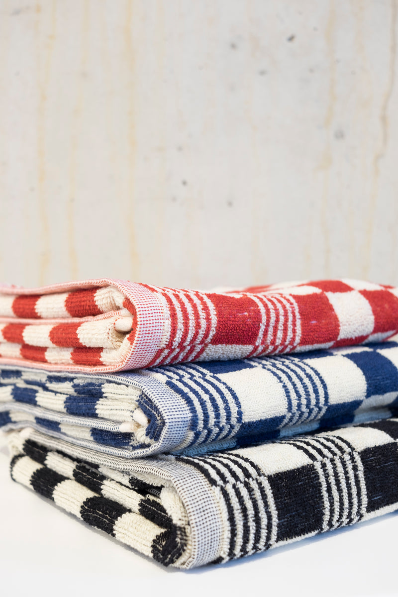 Classic check kitchen towel - Red/Ecru