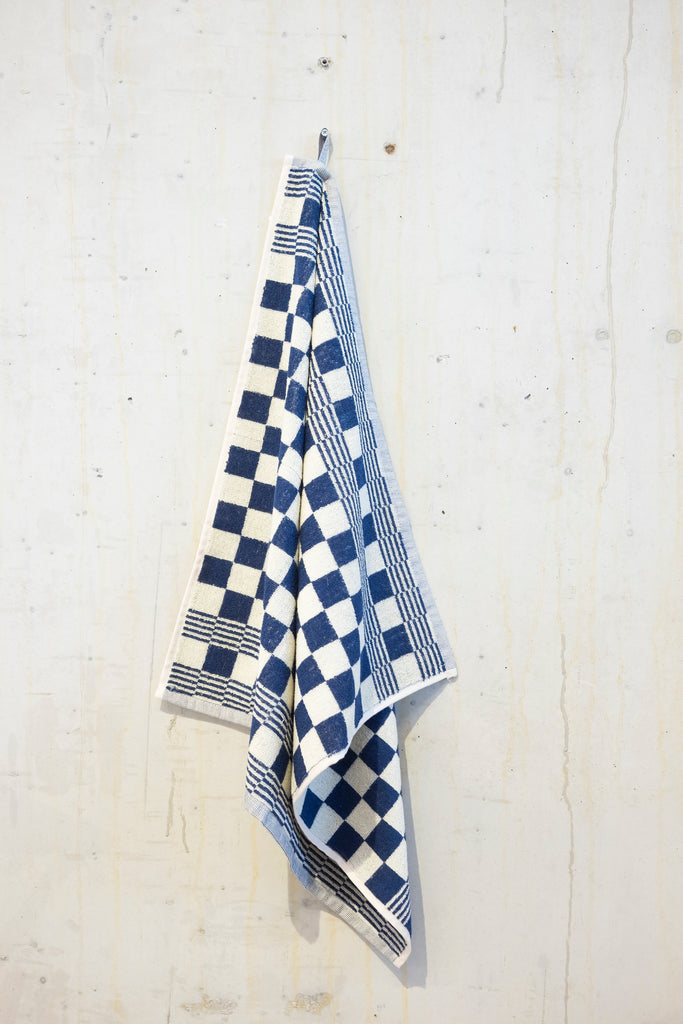 Classic check kitchen towel - Blue/Ecru