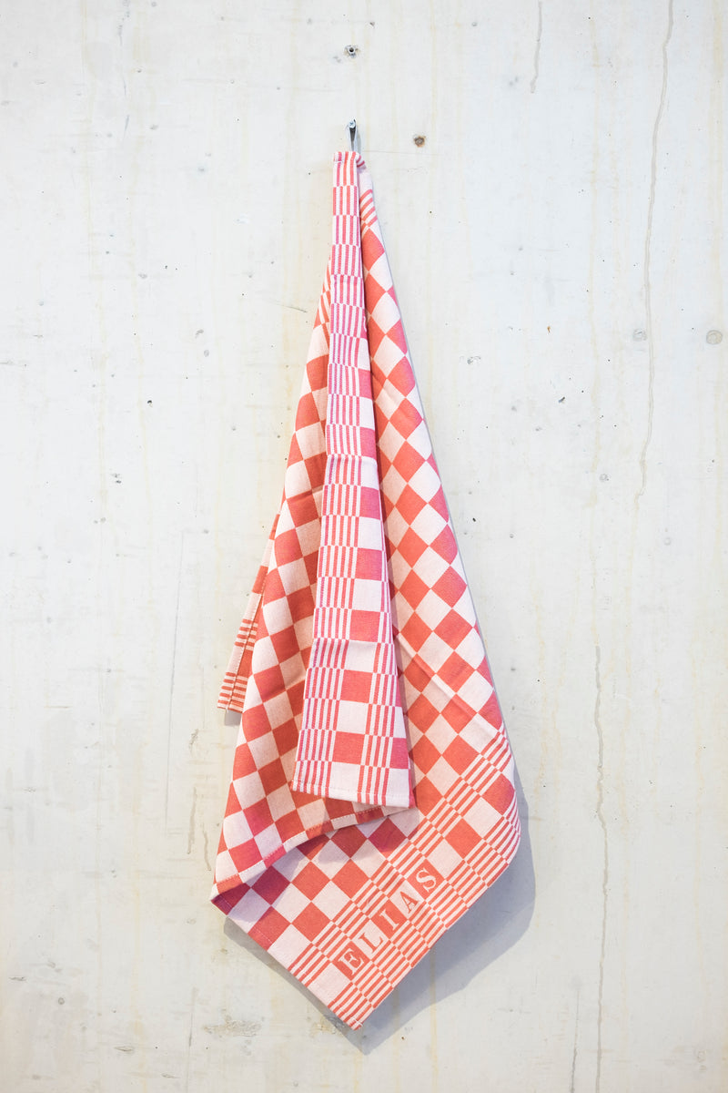 Classic check dishcloth - Red/Ecru