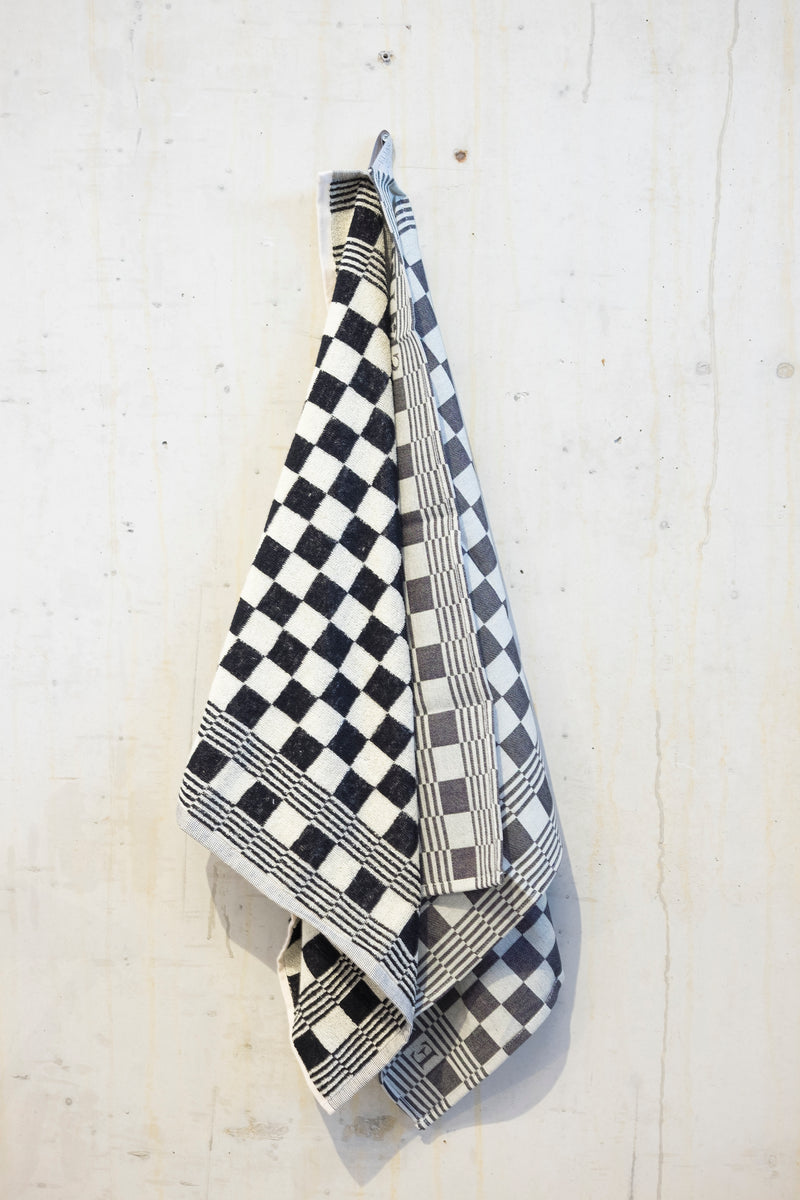 Classic check kitchen towel - Black/Ecru