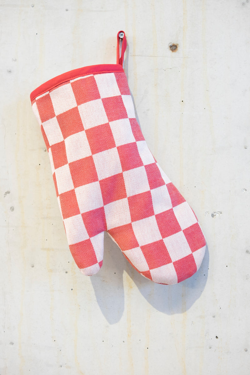 Classic check oven gloves - Red/Ecru