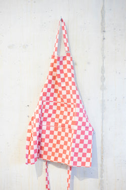 Classic check cooking apron - Red/Ecru