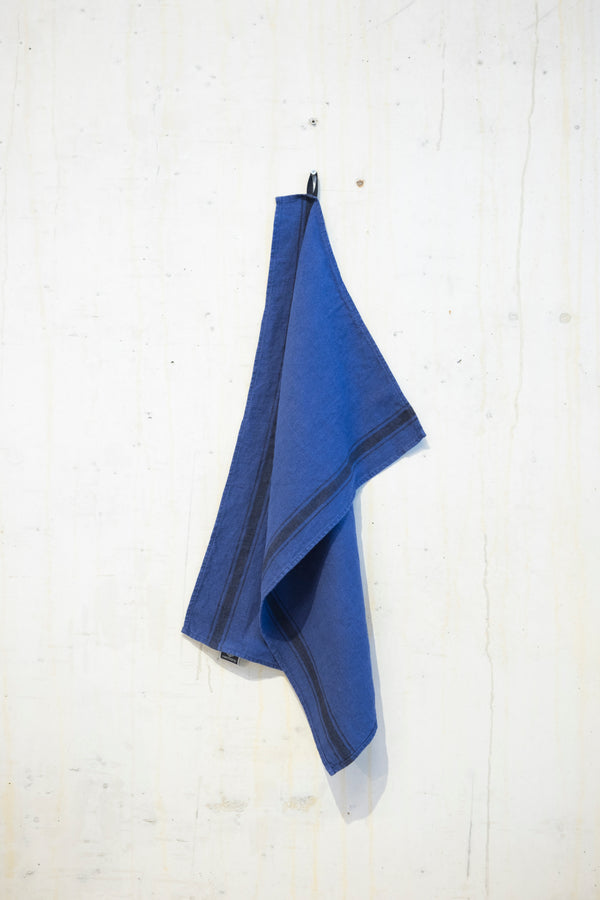 Linen kitchen towel 240 g/m² - Indigo/Grey stripe